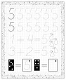 Black and white worksheet on a square paper with exercises for little children. Page with number five. Royalty Free Stock Photos