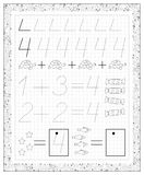 Black and white worksheet on a square paper with exercises for little children. Page with number four. Stock Photo
