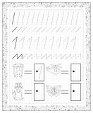 Black and white worksheet on a square paper with exercises for little children. Page with number one. Royalty Free Stock Photography