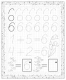 Black and white worksheet on a square paper with exercises for little children. Page with number six. Royalty Free Stock Photography