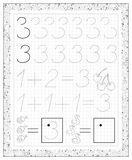 Black and white worksheet on a square paper with exercises for little children. Page with number three. Stock Photos
