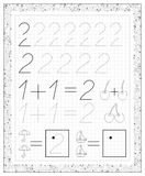 Black and white worksheet on a square paper with exercises for little children. Page with number two. Stock Photos