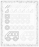 Black and white worksheet on a square paper with exercises for little children. Royalty Free Stock Photos