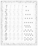 Black and white worksheet on a square paper with exercises for little children. Royalty Free Stock Photography