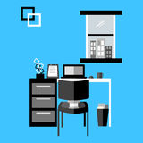 Black and white workspace vector. Minimalist workspace vector, black and white design Royalty Free Stock Image