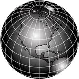 Black and white world globe Royalty Free Stock Image