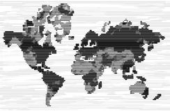 Black and white world map with lined effect Stock Photos