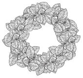 Black and White Wreath of Leaves Stock Images