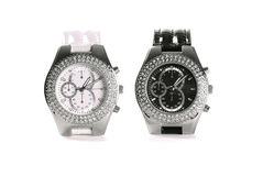 Black and white wristwatches Royalty Free Stock Image