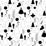 Black and white xmas seamless pattern. Seamless xmas pattern in black and white monochrome color palette with christmas toys, decorations and sweets stock illustration