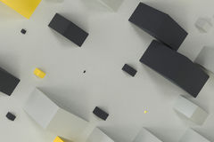 Black, white and yellow rectangular shapes of random size on whi. Te background. Wall of cubes. Abstract background. 3D rendering illustration Royalty Free Stock Image