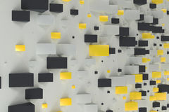 Black, white and yellow rectangular shapes of random size on whi. Te background. Wall of cubes. Abstract background. 3D rendering illustration Royalty Free Stock Images