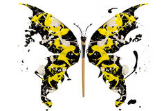 Black white yellow splash made butterfly Royalty Free Stock Photos