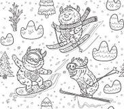 Black and white yeti skiing in the mountain seamless pattern. Vector illustration. Ink seamless pattern with fun yeti snowboarding and skiing in the mountain Stock Photos