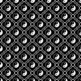Black and White Yin Yang Tile Pattern Repeat Background Royalty Free Stock Photography