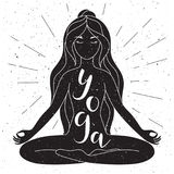 Black and white yoga poster with lettering. Vector. Stock Image