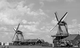 Black and white Zaanse Schans Royalty Free Stock Images