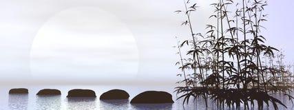 Black and white zen - 3D render Stock Image