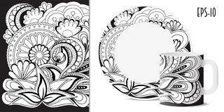 Black & white zen floral pattern with mandalas for dishes. Hand drawn  pattern with mandalas in zen style for decorate kitchenware, cup, dishes, porcelain Stock Photography