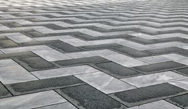 Black and White Zig Zag Pattern made from stone stock image