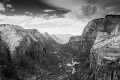 Black and White Zion River Valley. Photograph of the zion river valley from the middle of the canyon Stock Photography