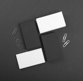 Black and whote business cards on a black background Royalty Free Stock Photo