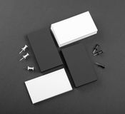 Black and whote business cards on a black background Stock Photo