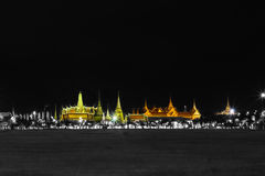 Black and whte effect with specific color of Wat pra kaew Public Temple Grand palace at night, Bangkok Thailand Royalty Free Stock Images