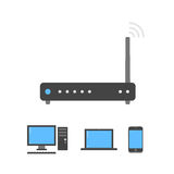 Black wi-fi router icon. Connected with pc, notebook and smartphone Royalty Free Stock Photos