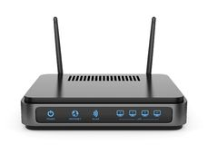 Black wi-fi router Stock Photo