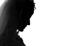 Black widow. Profile of a grieving woman Stock Photos