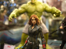 Black widow in The Avengers: Age of Ultron. 1:6 scale Black widow figure in TOY SOUL 2014 in Hong Kong Royalty Free Stock Image