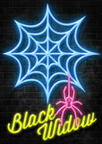 Black Widow Neon Sign Royalty Free Stock Image