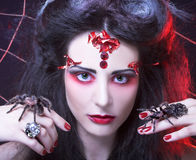 Black widow. Young woman in dark artistic image posing with spider Royalty Free Stock Photo