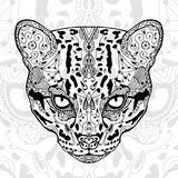 The black and wild cat white  print with ethnic zentangle patterns. Coloring book for adults antistress. Art therapy Royalty Free Stock Photography