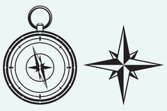 Black wind rose and compass Stock Photography