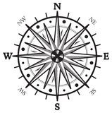 Black wind rose compass. Vector illustration of the Black wind rose compass isolated on white Royalty Free Stock Image