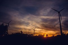 Black Windmills during Sunset Stock Photography