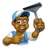 Black Window Cleaner With Squeegee Royalty Free Stock Images