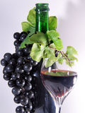 Black wine. A bottle and a glass of black wine close to grape Stock Images
