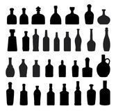 Black Wine and beer Bottles. A set of wine and beer bottle in silhouette Royalty Free Stock Photo