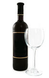 Black wine bottle and a glass Royalty Free Stock Photo