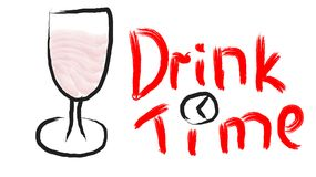 Black wine glass on a leg with red wine merlot drawn by hand and a beautiful writing time drink with a clock painted in red on a w. Hite background. Vector Royalty Free Stock Image