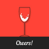 Black wineglass icon on red background Stock Images