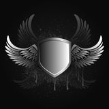 Black winged shield emblem Royalty Free Stock Photography