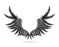 Black wings. Computer illustration, isolated on the white Royalty Free Stock Image