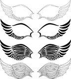 Black wings. Set of black wings vector illustraton Stock Images