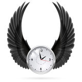 Black  wings. Clock. Stock Photo