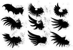 Black wings set Royalty Free Stock Image