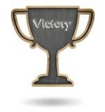 Black winner cup shape blackboard Stock Photo